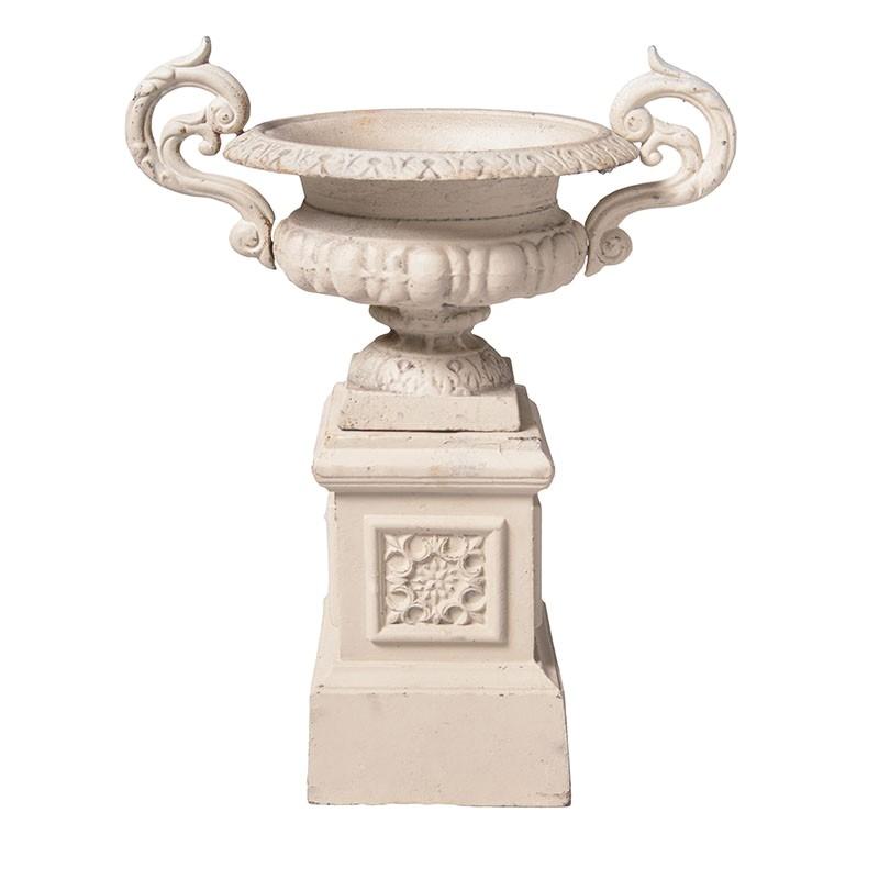 Campana Cast Iron Garden Urn & Pedestal Set, Large, Antique White