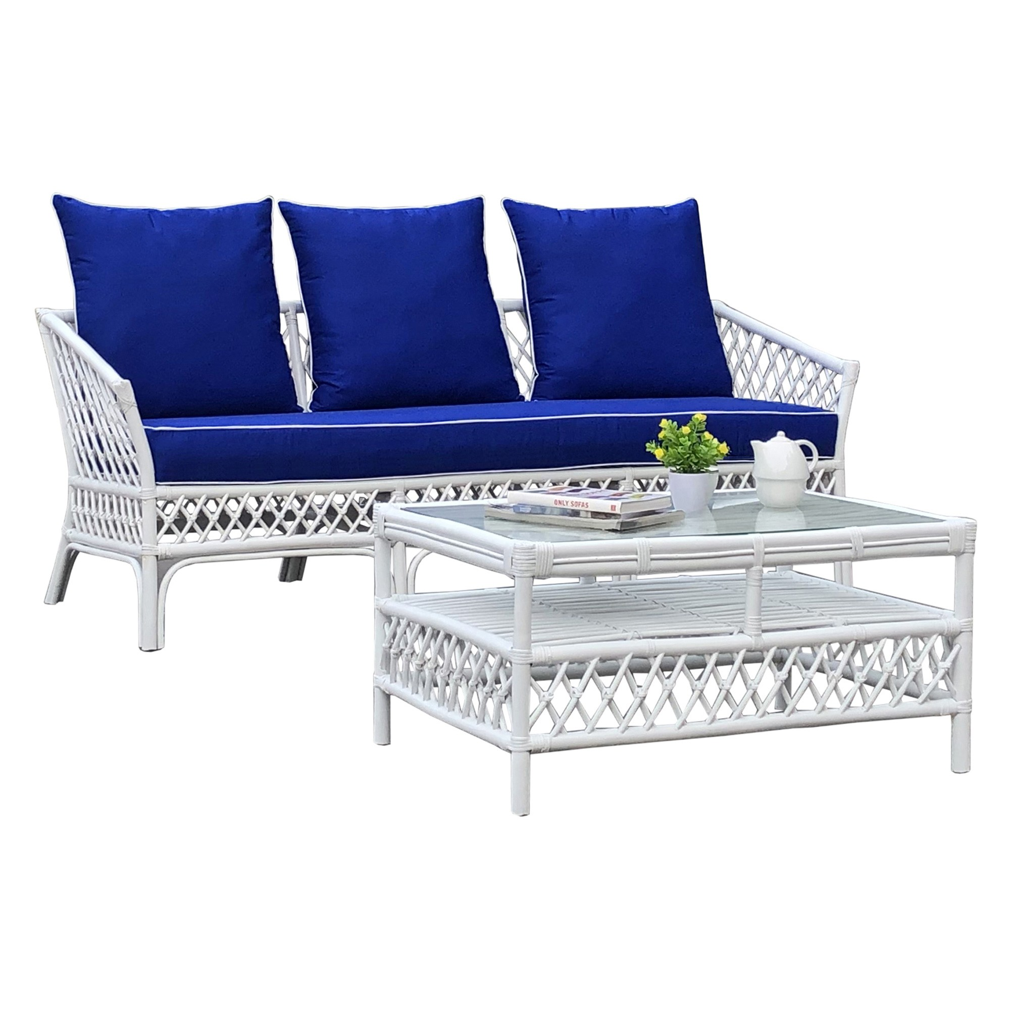 Cristina Rattan Sofa (Coffee Table Not Incl), 3 Seater, White / Pacific Blue