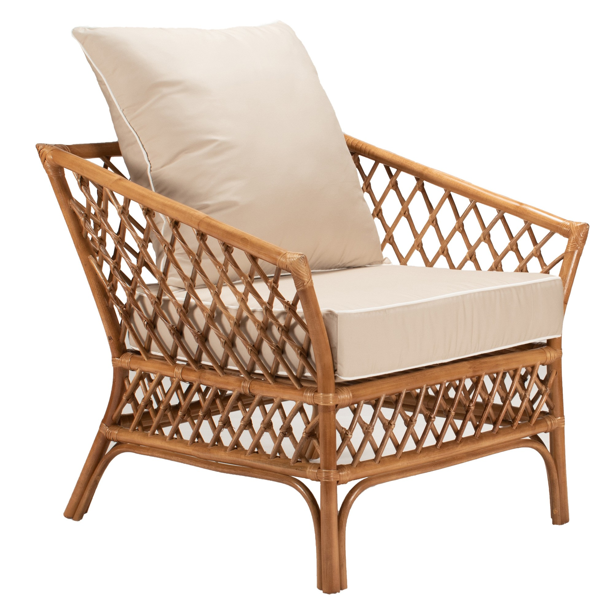 Cristina Rattan Armchair, Antique Brown / Tan