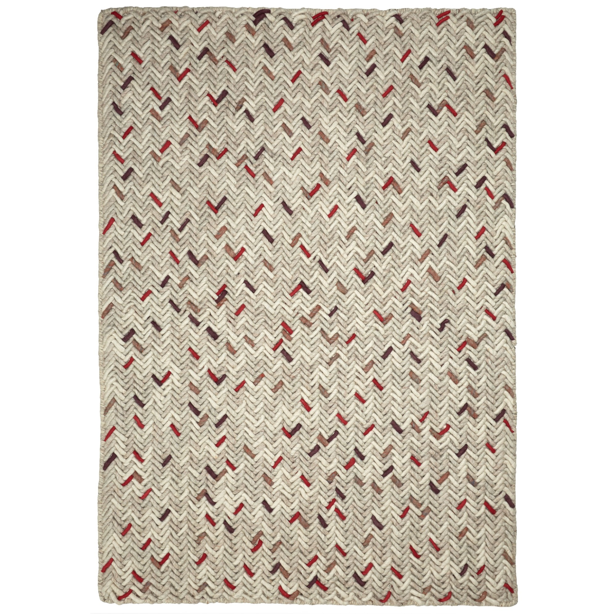 Crisscross Handwoven Wool Rug, 225x155cm, Cream / Red