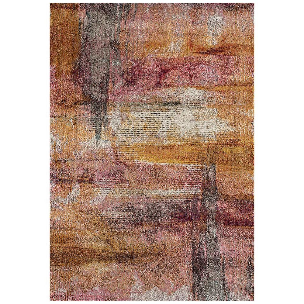 Crystal Jasmin Brushstroke Modern Rug, 200x290cm, Rust