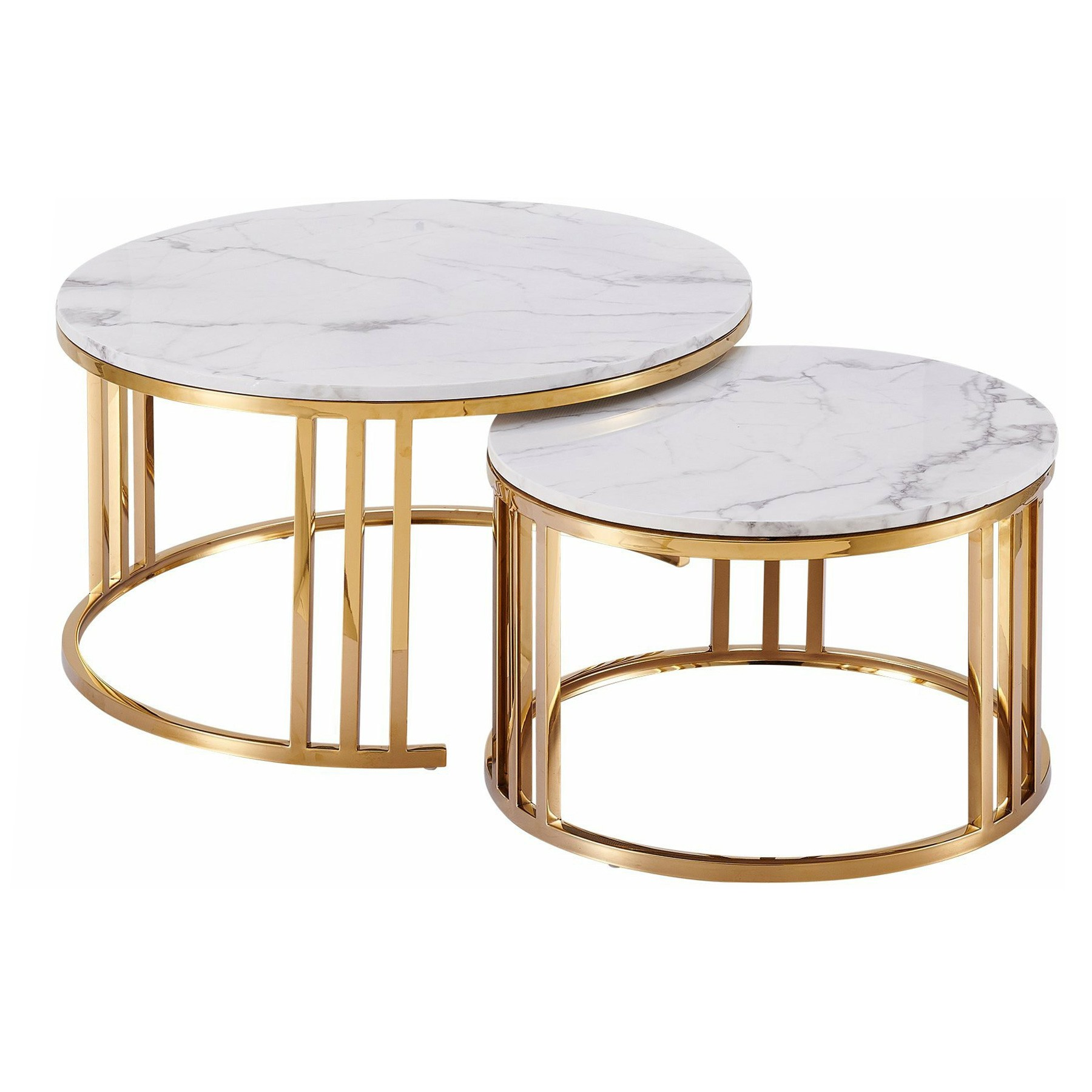 Lula 2 Piece Marblite & Metal Nested Round Coffee Table Set, 80/60cm, White / Gold