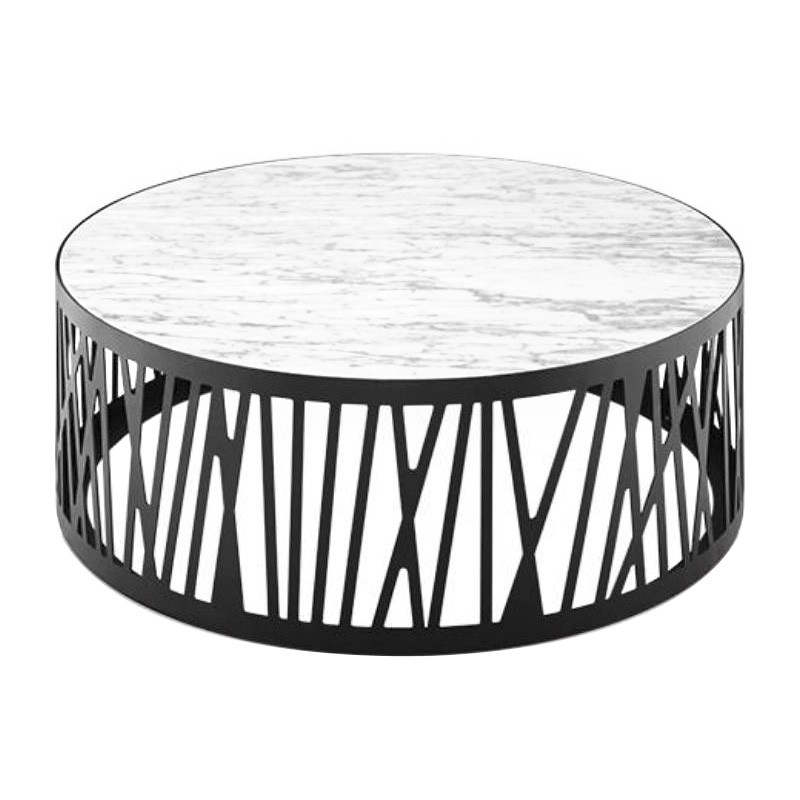Stella Porcelian & Iron Round Coffee Table, 90cm, White / Black