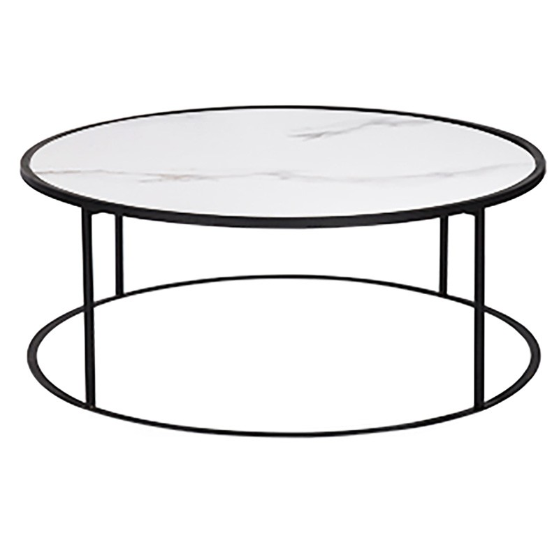 Casello Porcelian & Iron Round Coffee Table, 92cm, White / Black