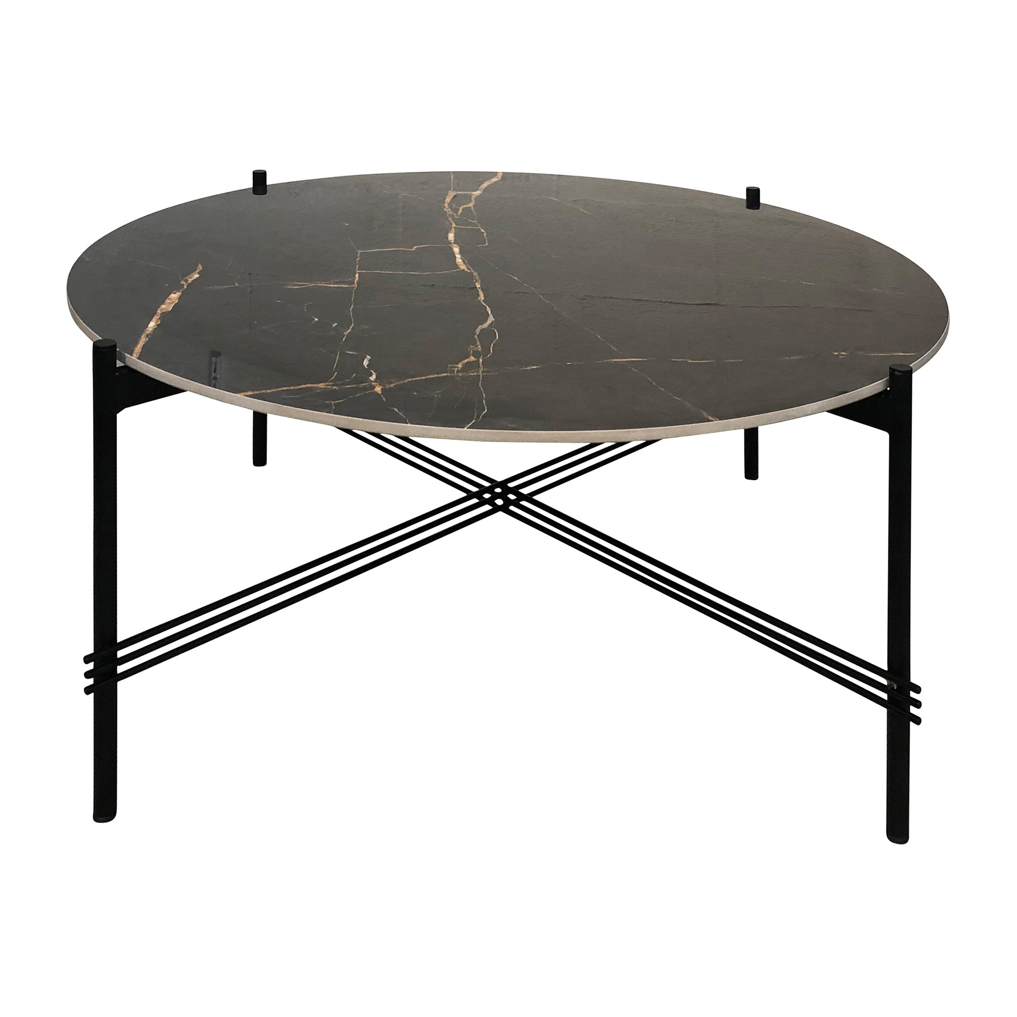 Cataniello Porcelian & Iron Round Coffee Table, 86cm, Black