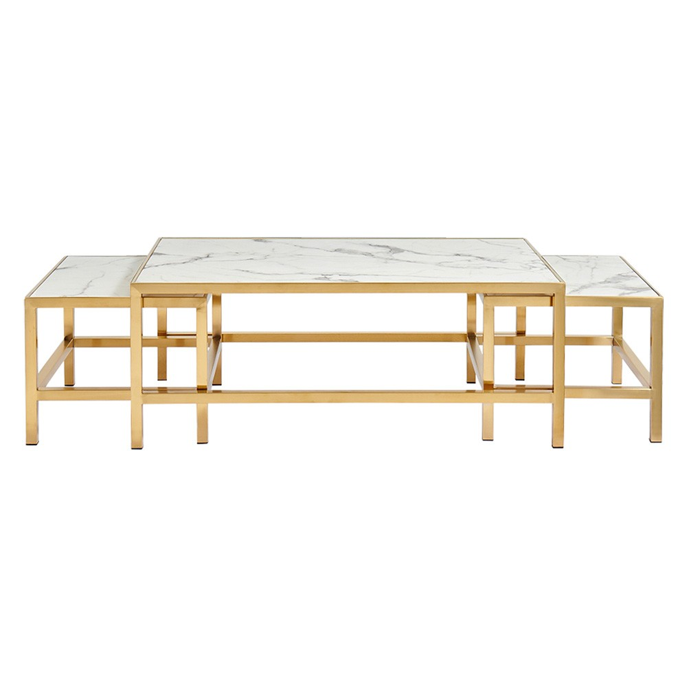 Donaldson 3 Piece Faux Marble Topped Stainless Steel Nesting Coffee Table Set, 120cm, Brushed Gold