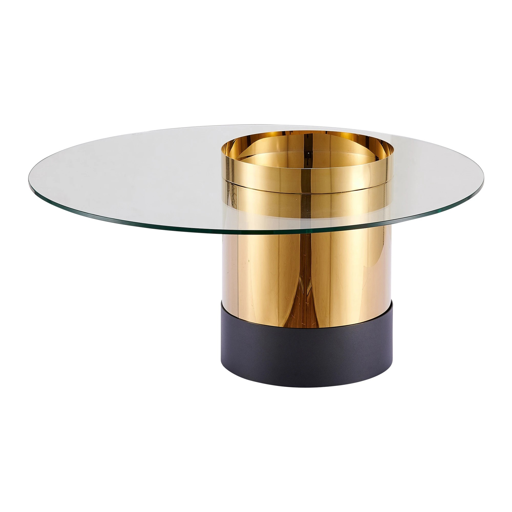 Zona Glass & Metal Round Coffee Table, 100cm