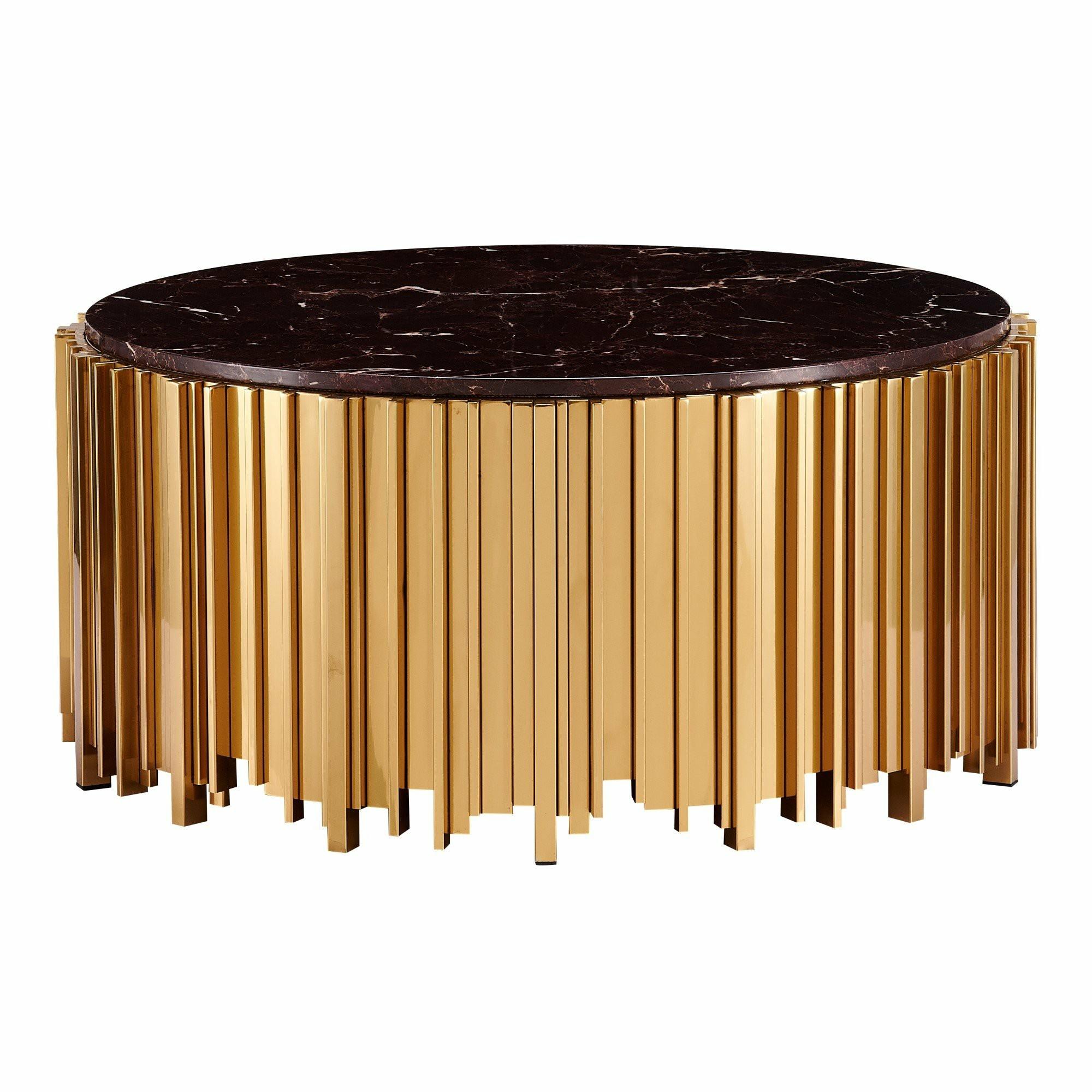 Caresi Marblite & Metal Round Coffee Table, 100cm