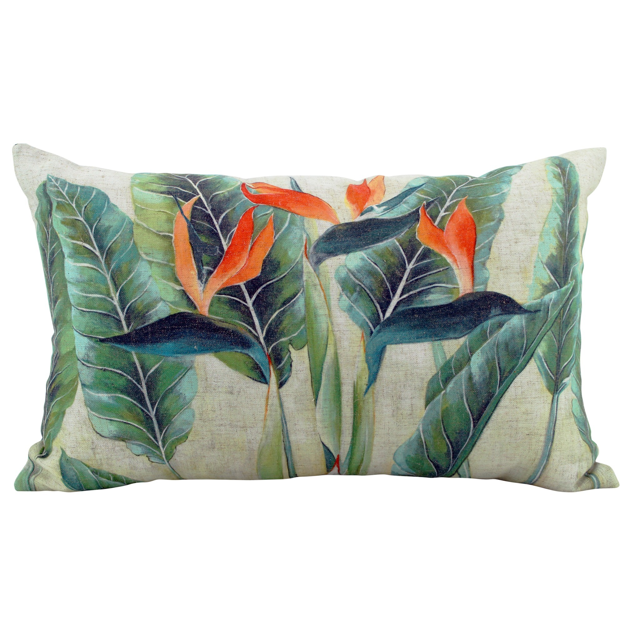Bird of Paradise Linen Lumbar Cushion