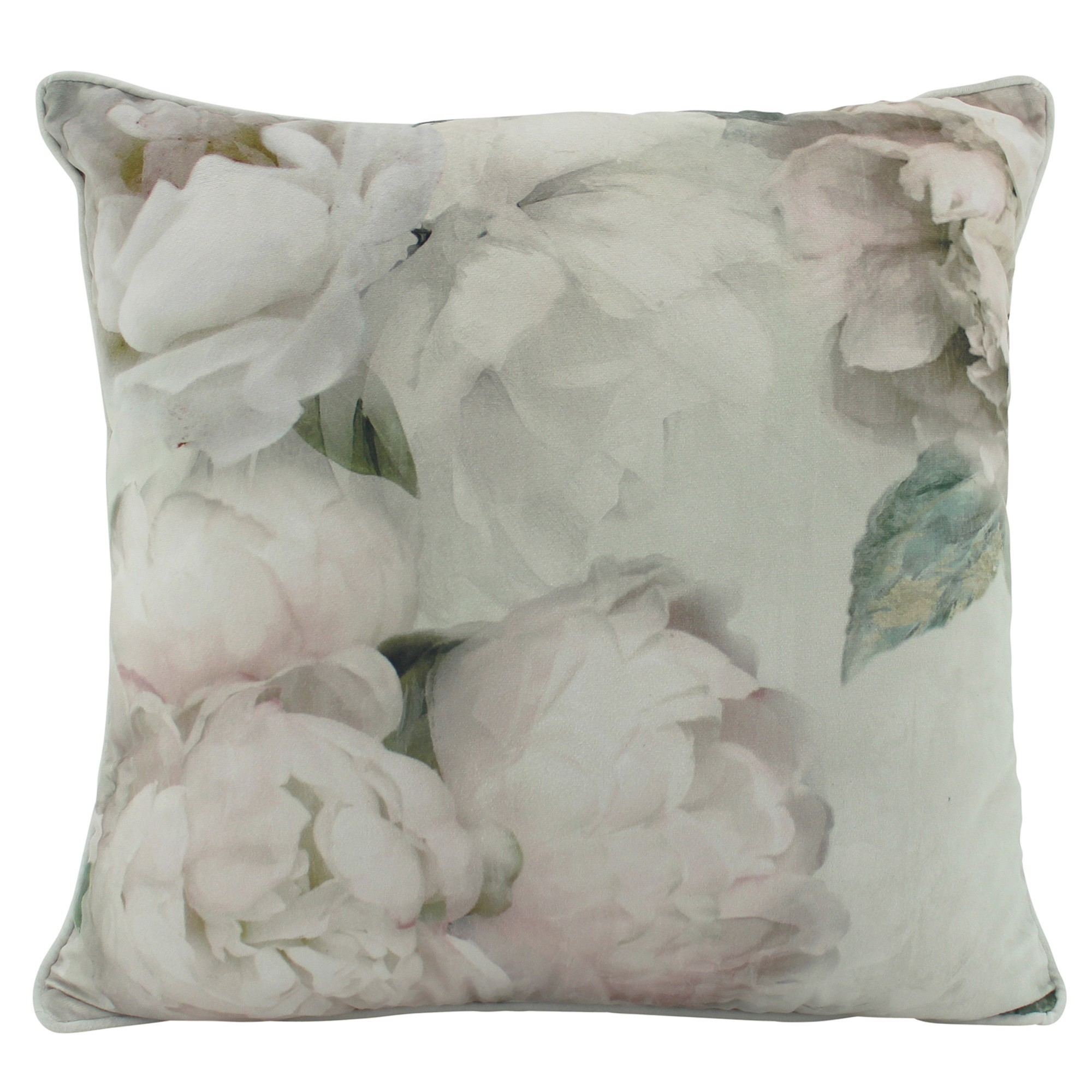 White Peony Velvet Scatter Cushion