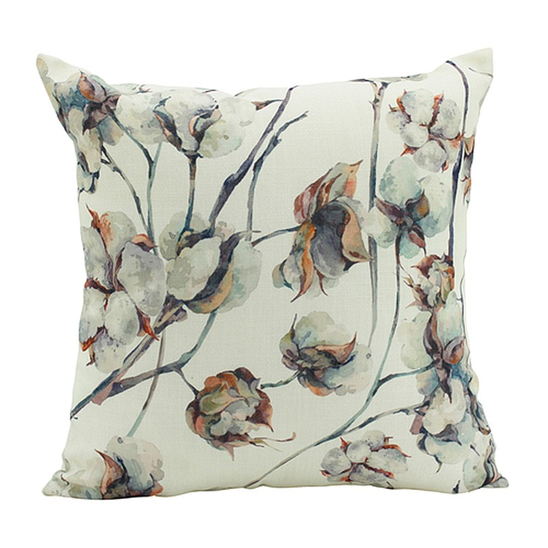 Watercolour Cotton Plant Scatter Cushion