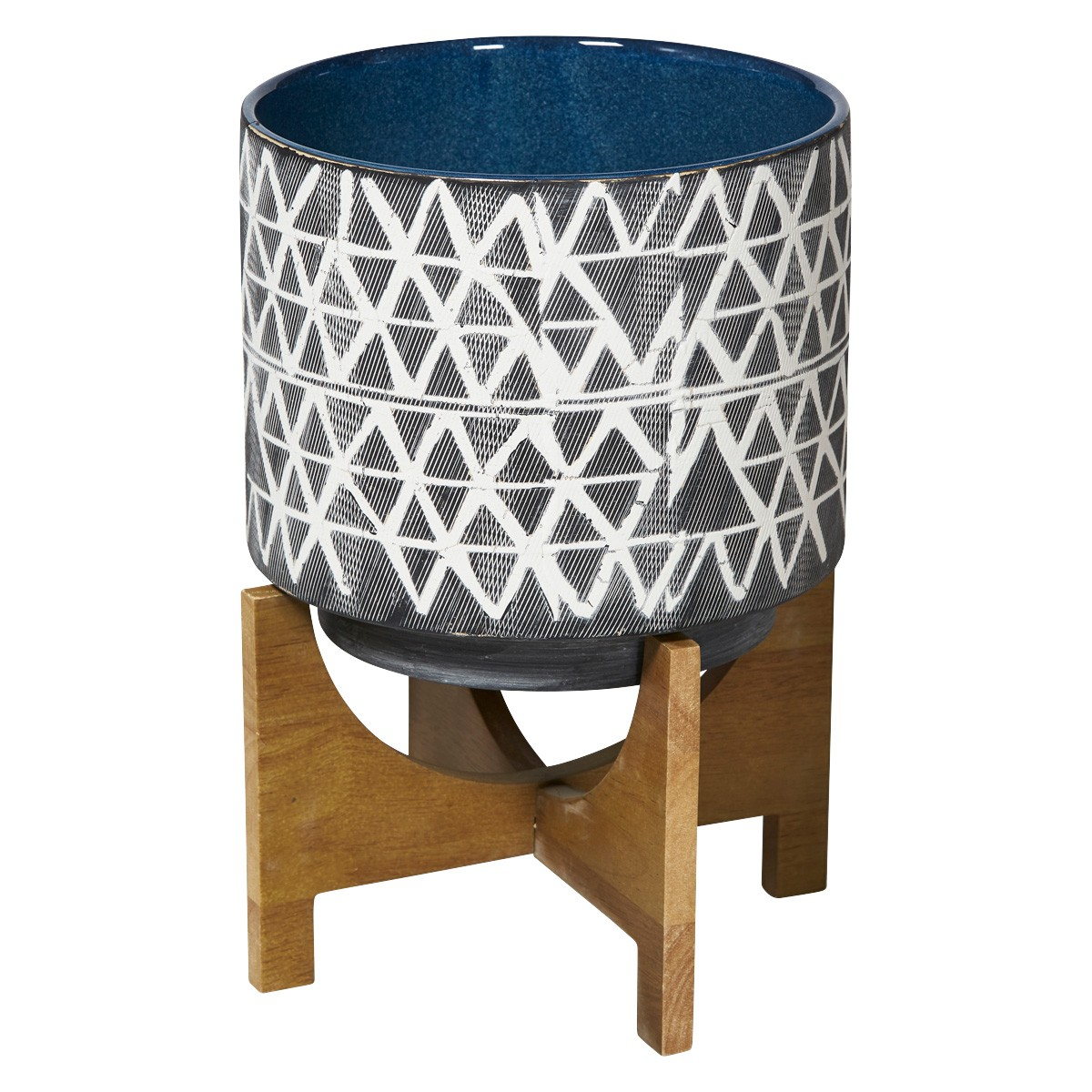 Platania Ceramic Pot Planter on Wood Stand, Large, Charcoal