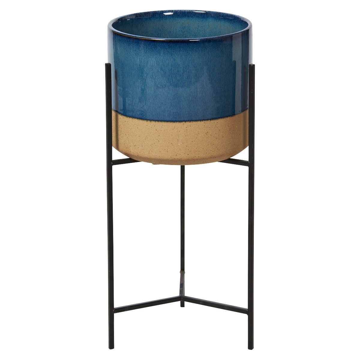 Avli Ceramic Pot Planter on Iron Stand, Medium, Blue