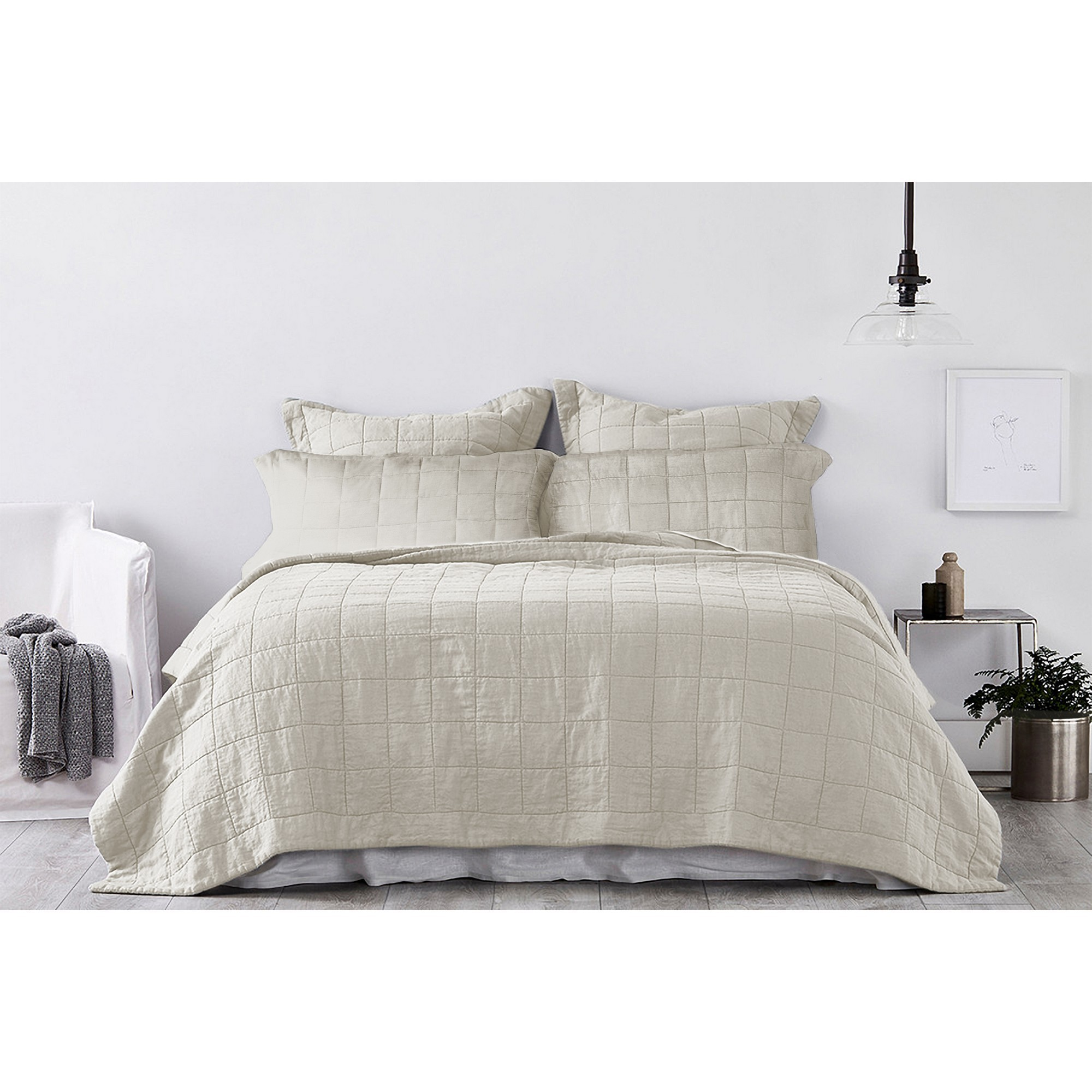 Ardor Harley Washed Cotton Coverlet Set, Quee / King, Nude