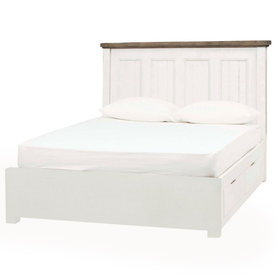 Cotswolds Reclaimed Timber Platform Bed with Storage, King
