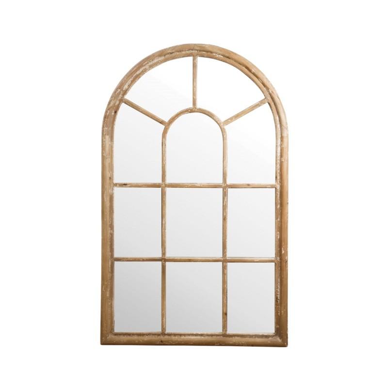 Kole Wooden Frame Arch Window Wall Mirror, 138cm