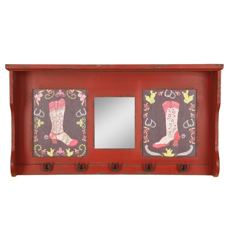 Turkish Boots Metal Wall Shelf with Mirror and 5 Hooks - 80cm