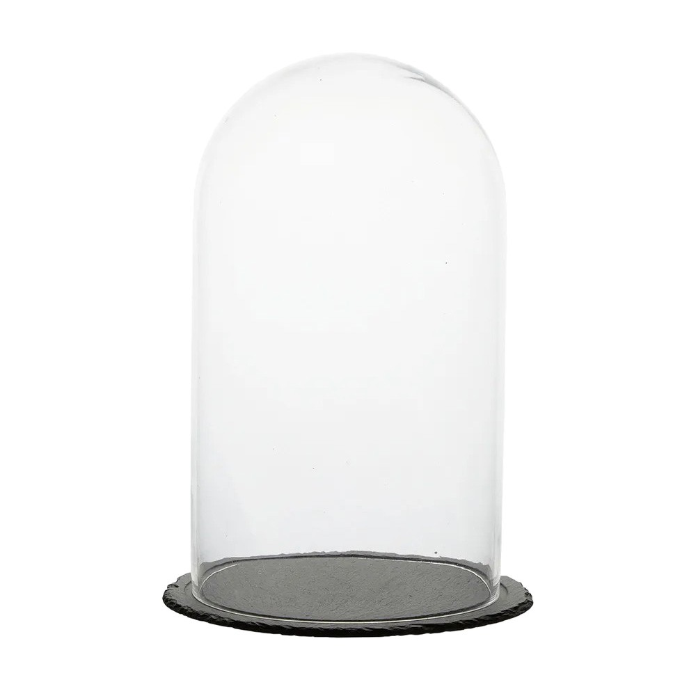 Milla Glass Cloche with Slate Base, Large