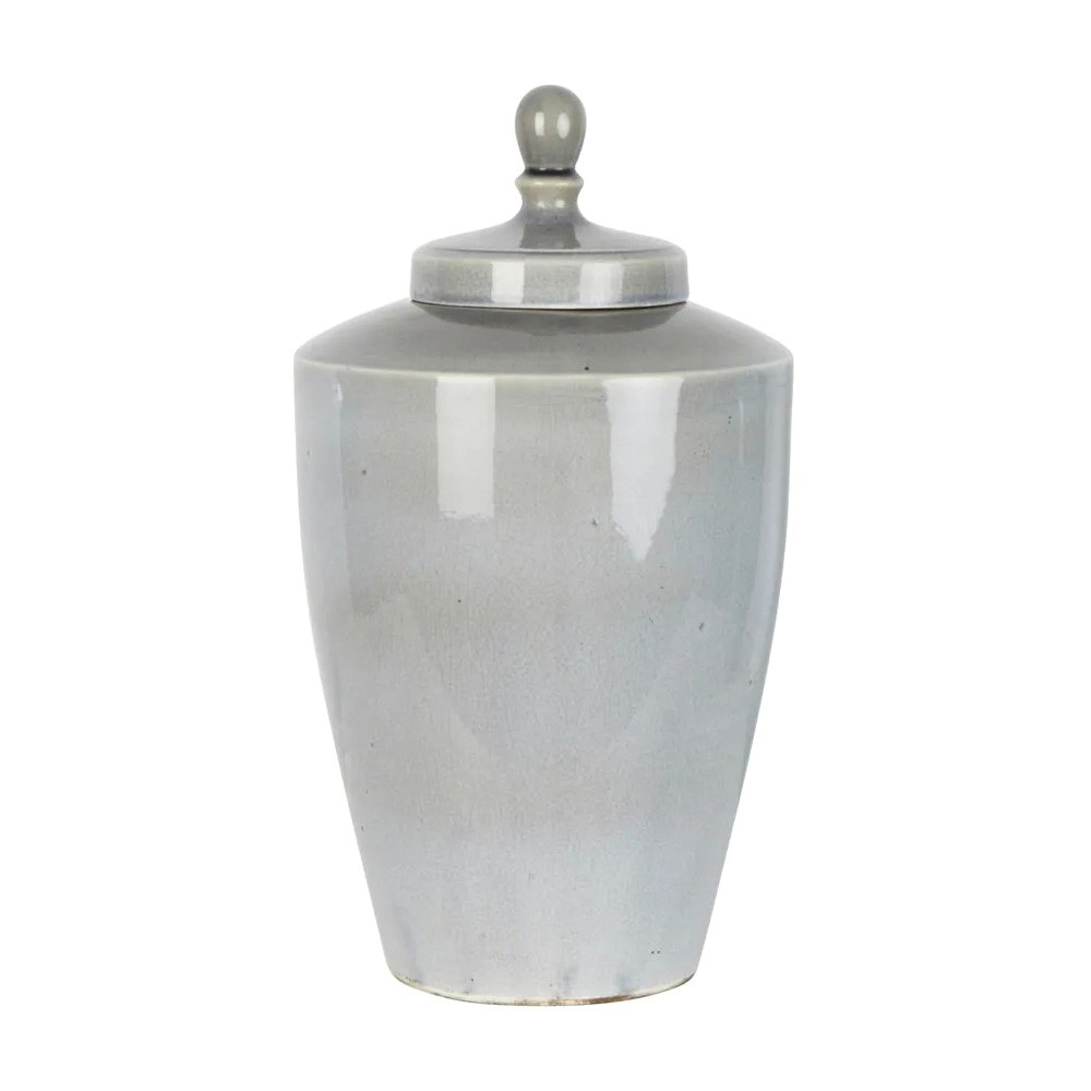 Harbor Ceramic Tapered Ginger Jar, Large, Pearl Grey