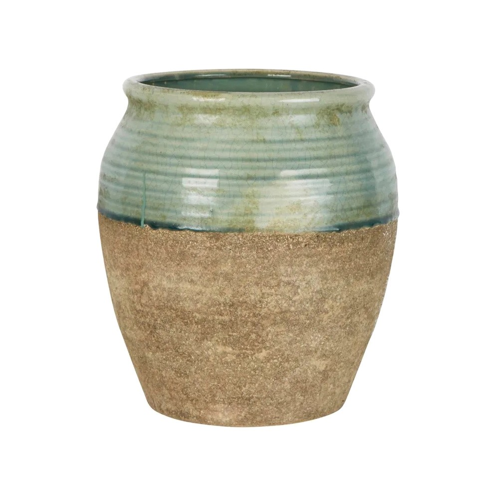 Tuscan Ceramic Pot, Large, Sage / Clay