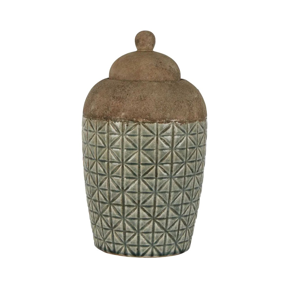 Anis Ceramic Ginger Jar, Large, Sage