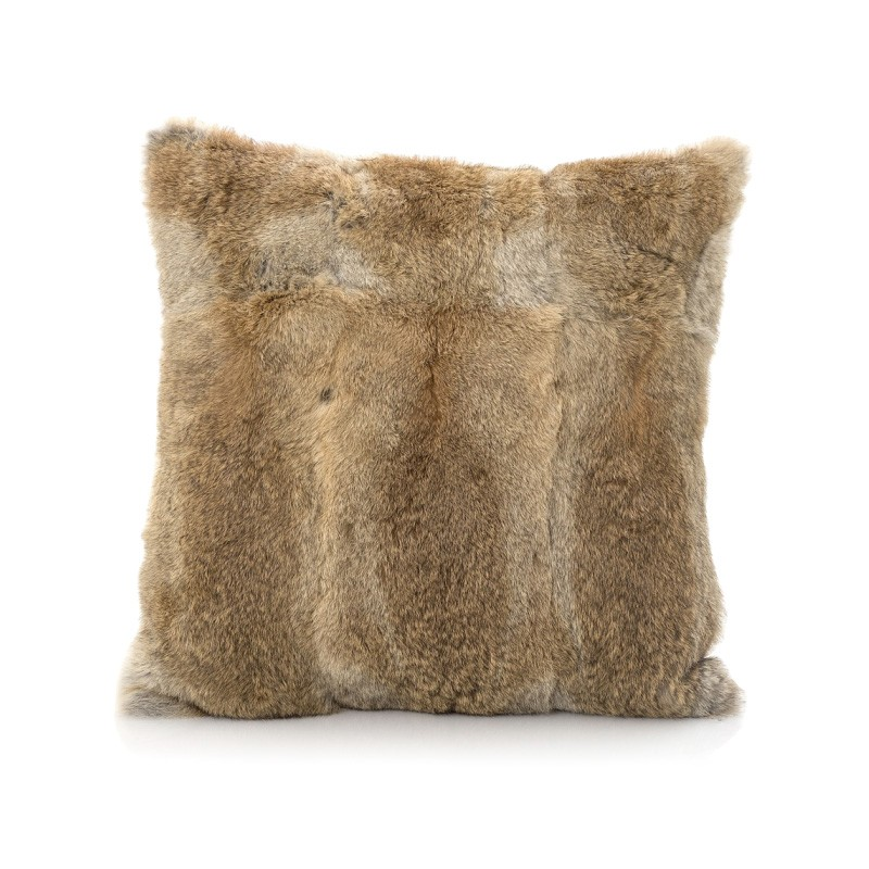 Petra Rabbit Fur Scatter Cushion, Brown