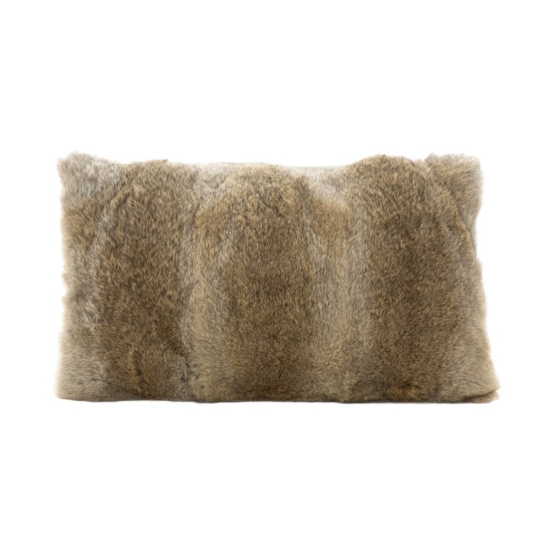 Petra Rabbit Fur Lumbar Cushion, Brown