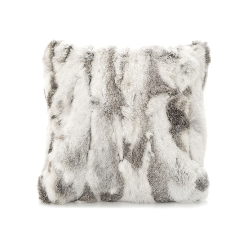Siberian Faux Fur Scatter Cushion, Grey / White