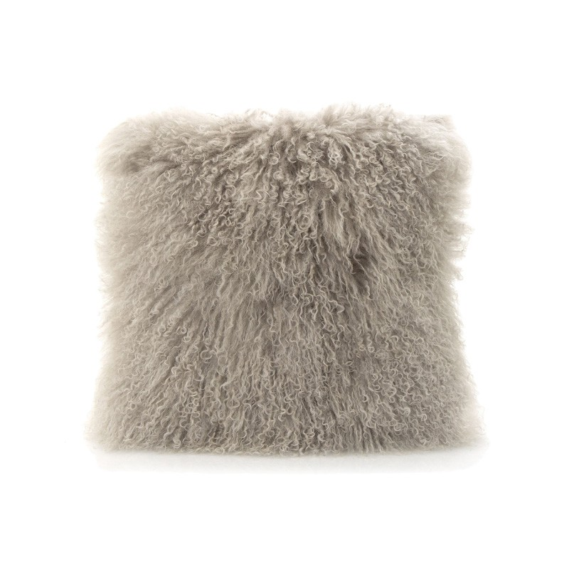 Tibetan Natural Lambswool Scatter Cushion, Grey