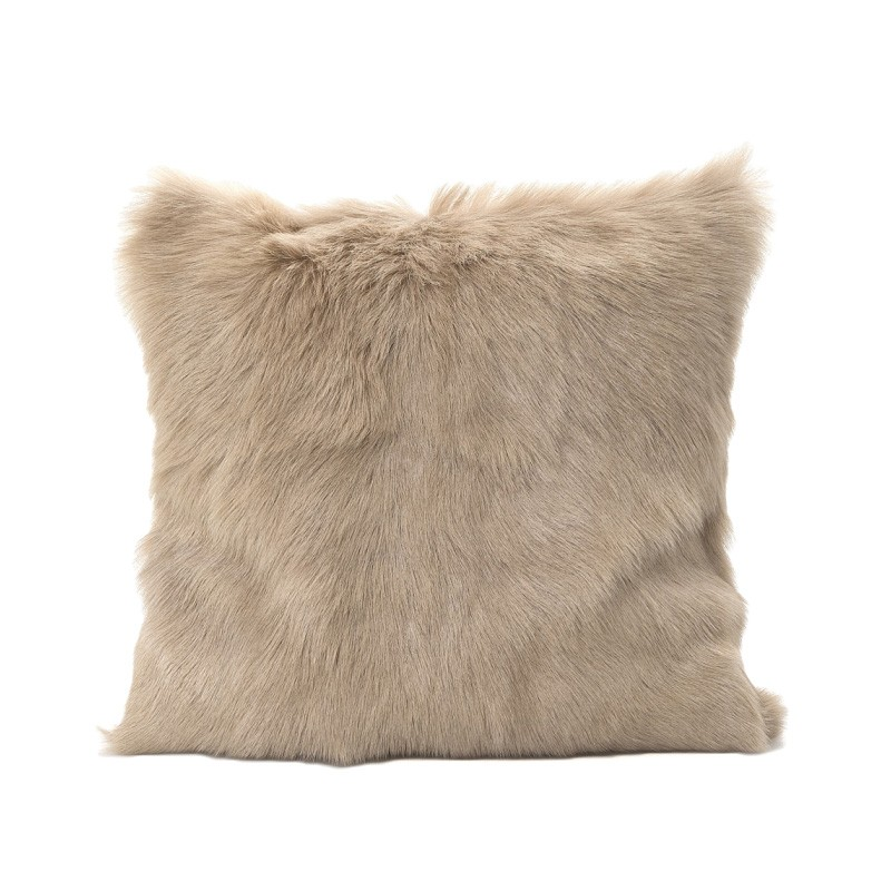Petra Goat Fur Scatter Cushion, Beige