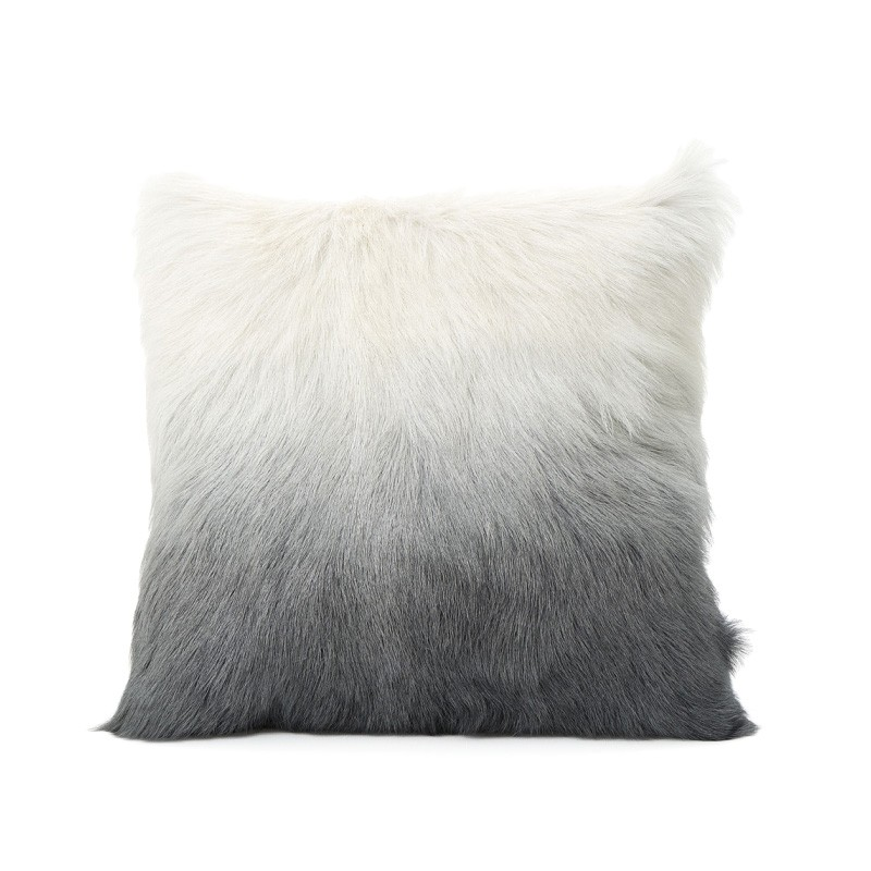 Petra Ombre Faux Fur Scatter Cushion, Grey / White
