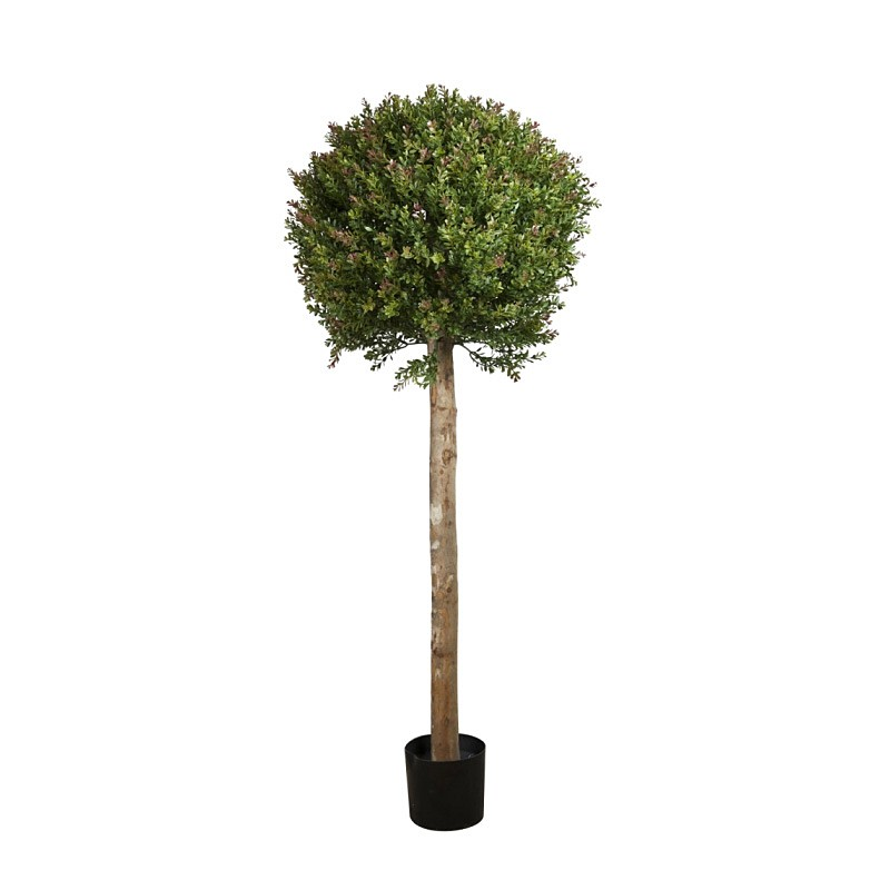 Artificial Red Day Leaf Ball Topiary Tree, 150cm