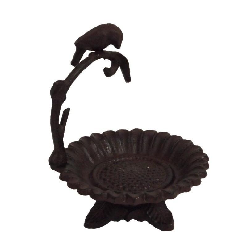 Rustic Cast Iron Flower Dish with Bird