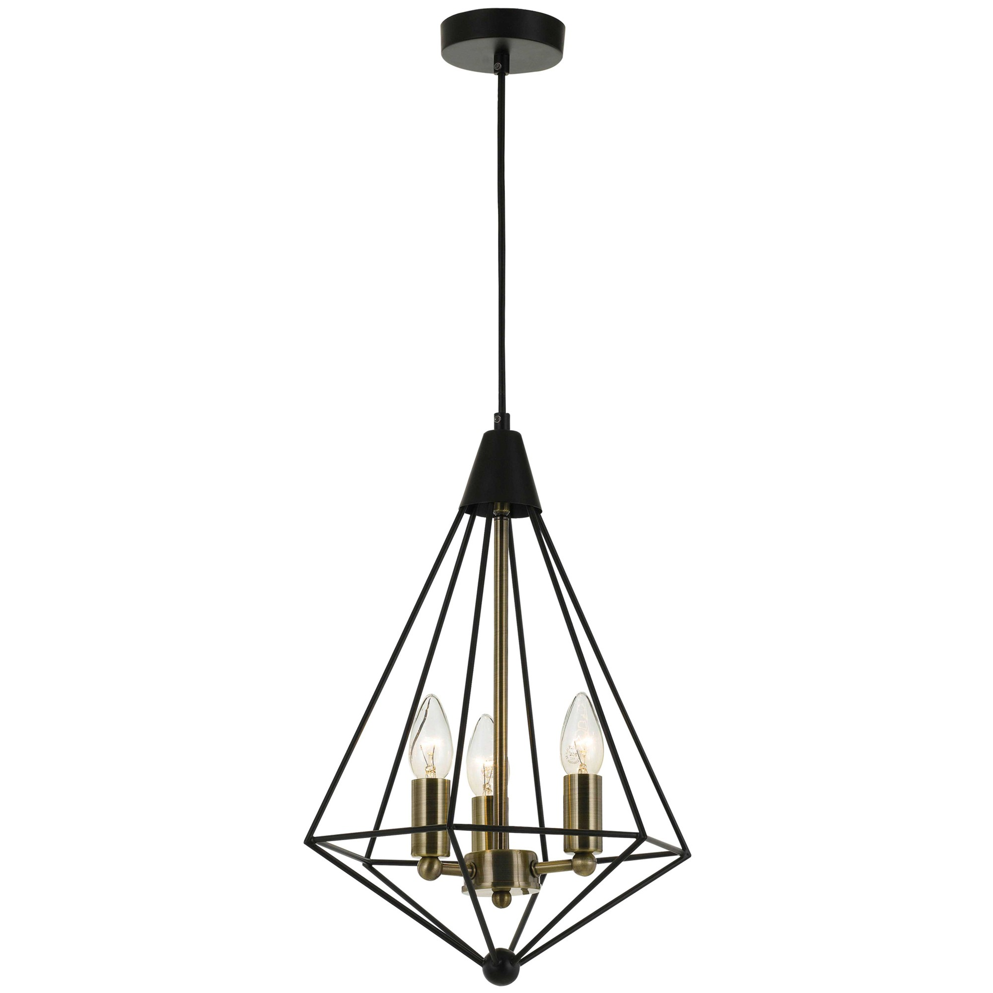 Delgany Metal Pendant Light, Small, Black / Antique Brass