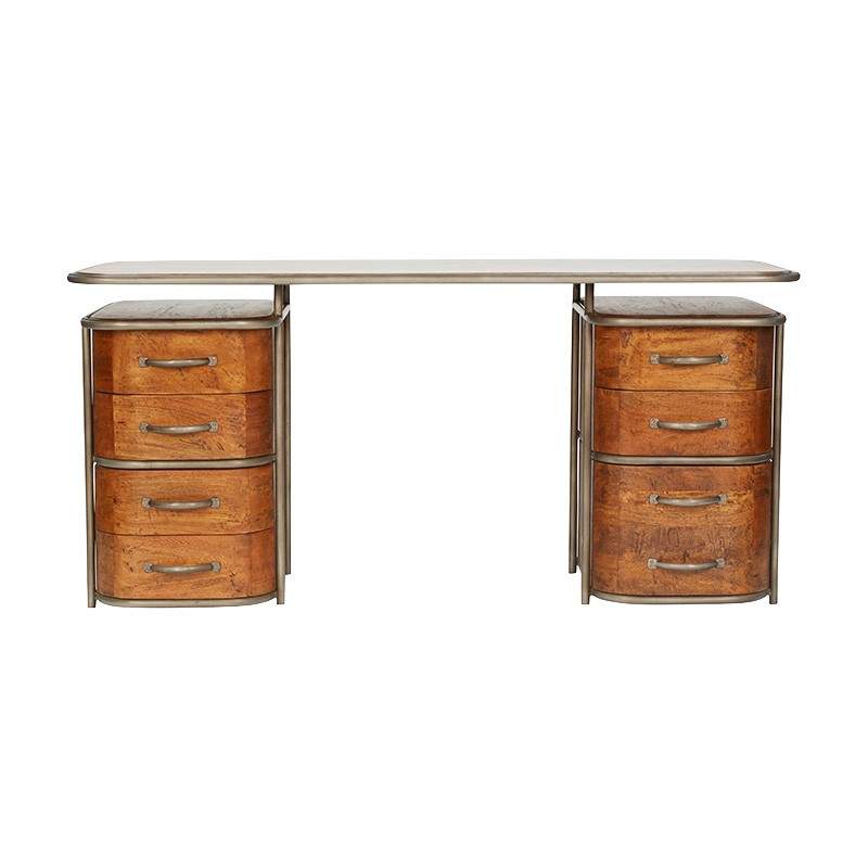 Cabourg Mango Wood & Metal French Art Deco Desk, 166cm