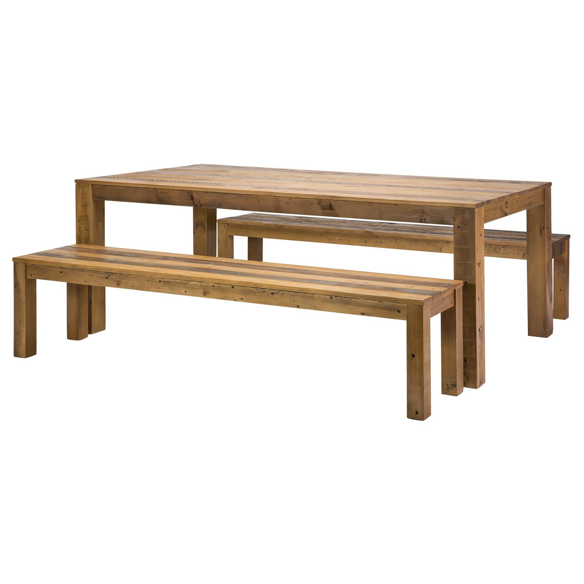 Leland 3 Piece Recycled Timber Dining Table & Bench Set, 210cm