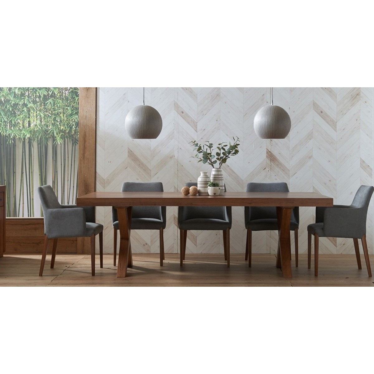 Madalyn 9 Piece Tasmania Oak Timber Dining Table Set, 240cm