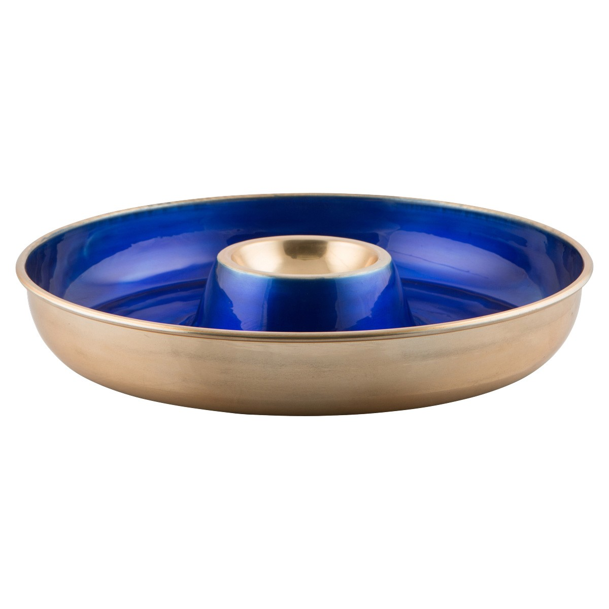 Miriam Enamelled Aluminium Chip & Dip Server, Cobalt Blue/Gold