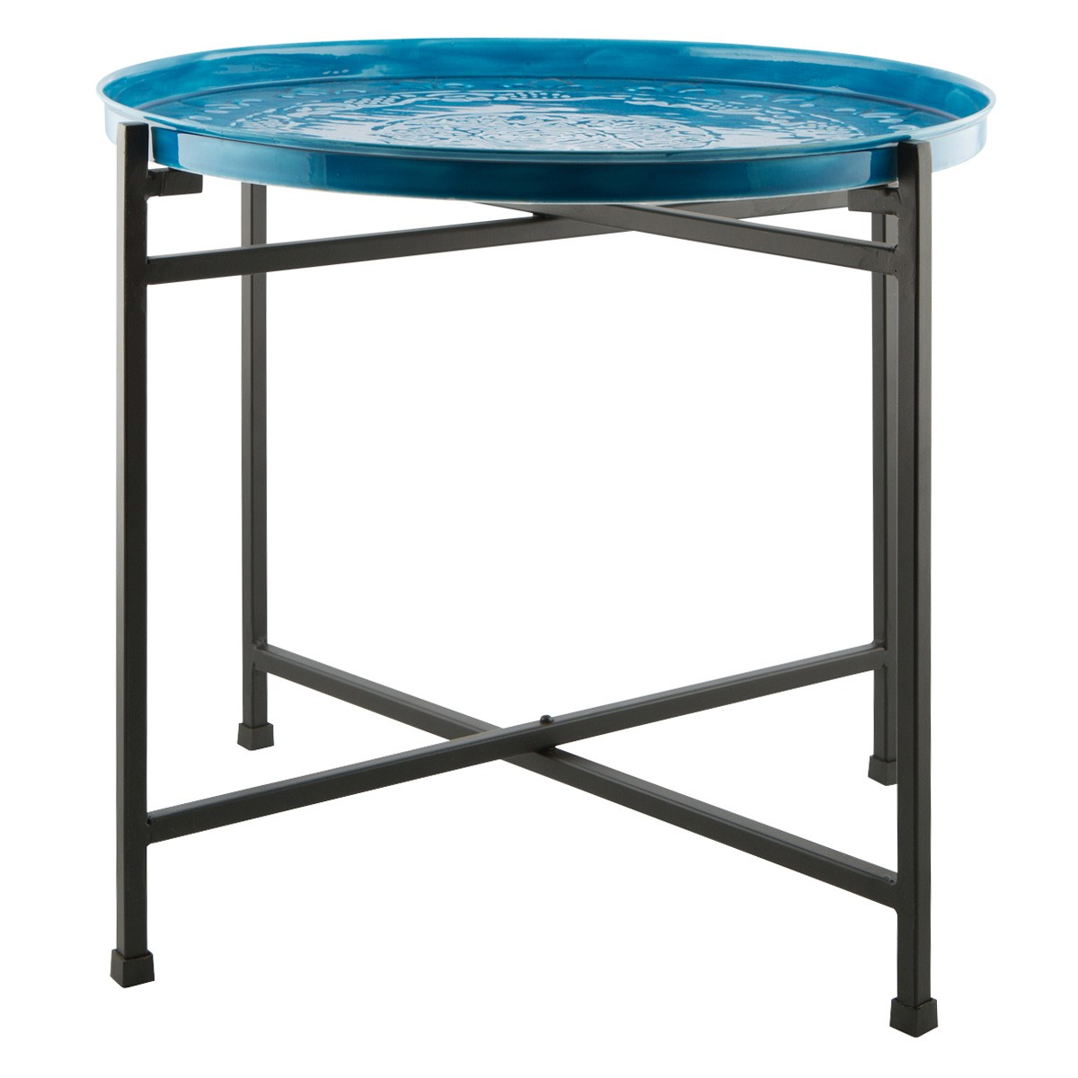 Ameson Enamelled Iron Tray Top Round Side Table, Small, Blue