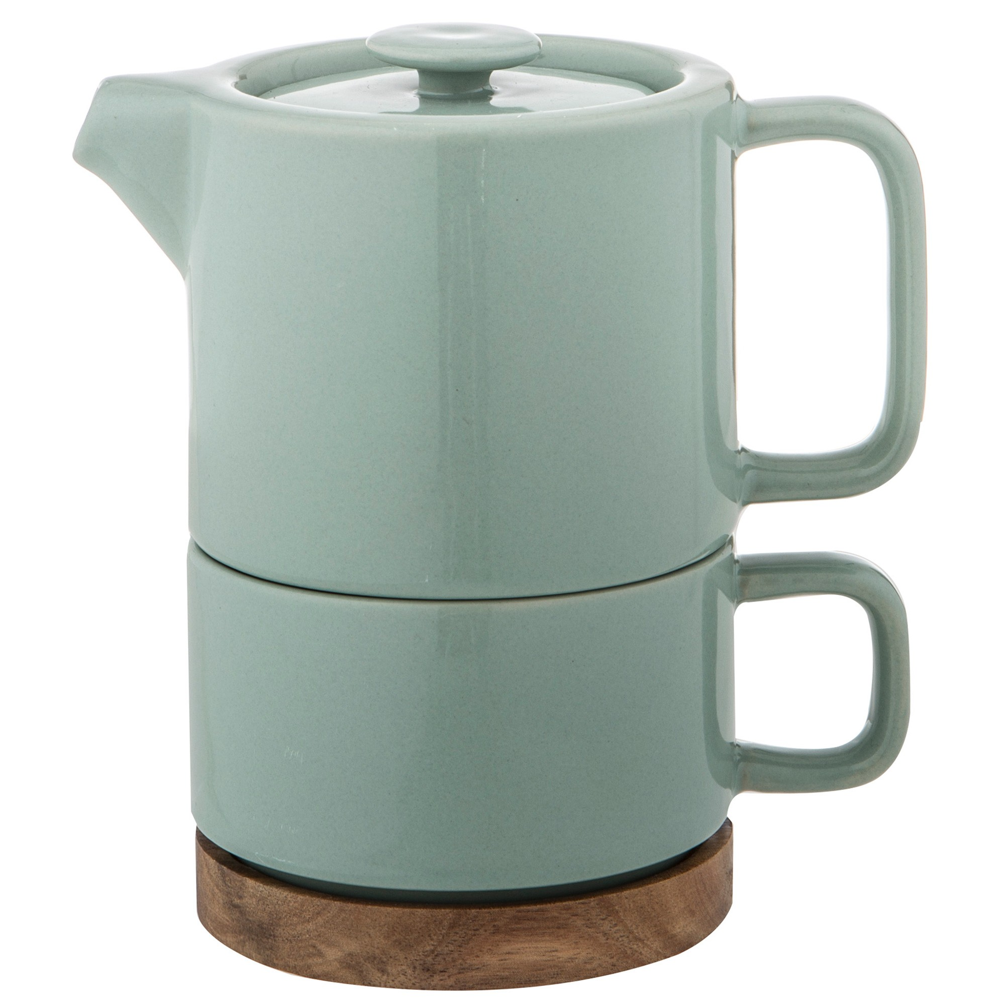 Leaf & Bean Soren Tea For One Ceramic Teapot & Cup Set, Sea Green