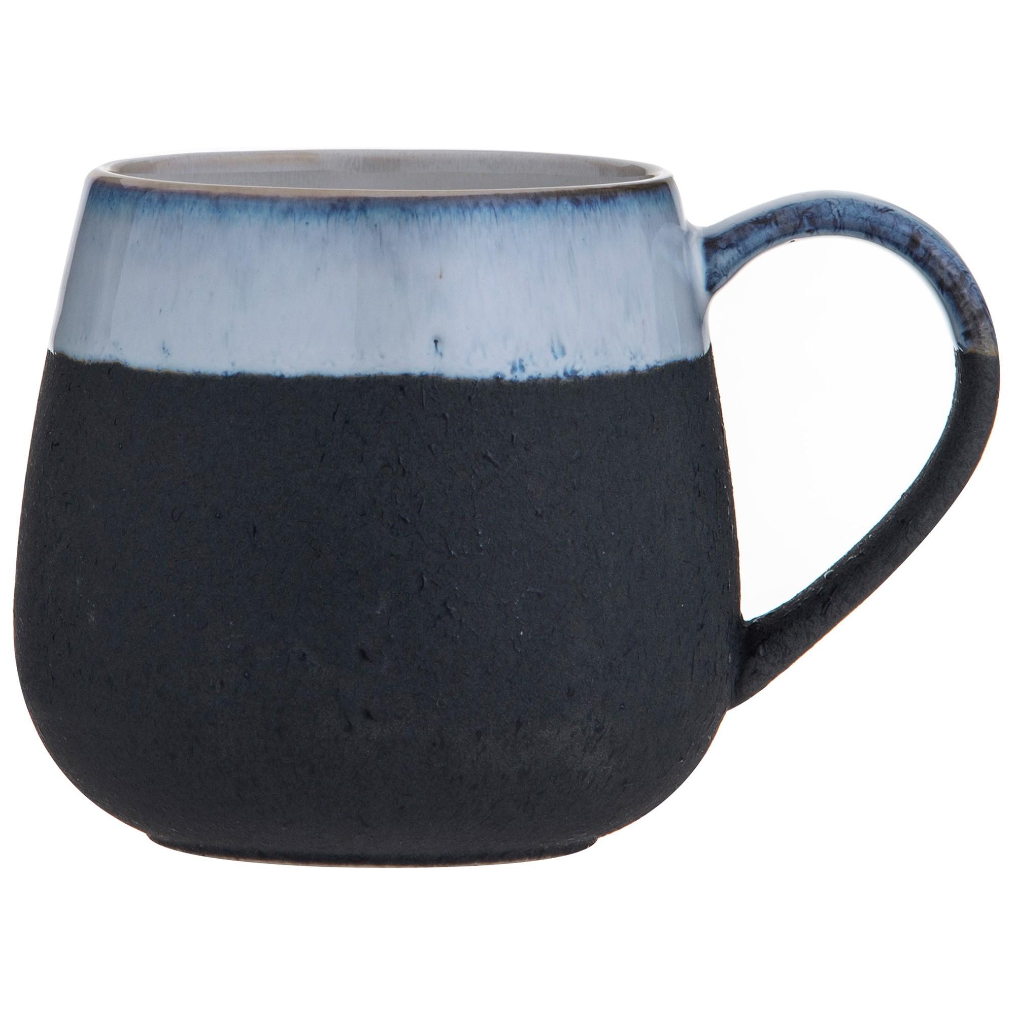 Leaf & Bean Milan Reactive Glaze Ceramic Mug, Black