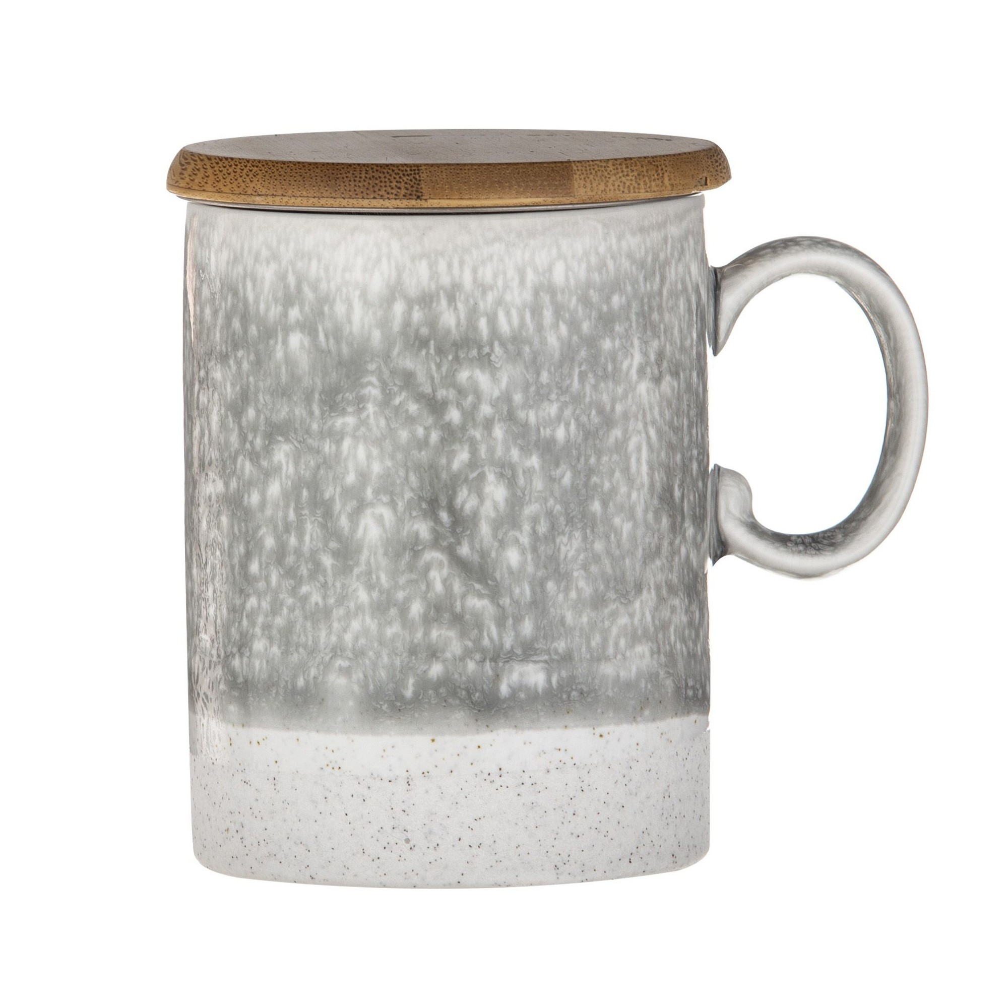 Capri Reactive Glazed Ceramic Tea Mug with Infuser, Grey