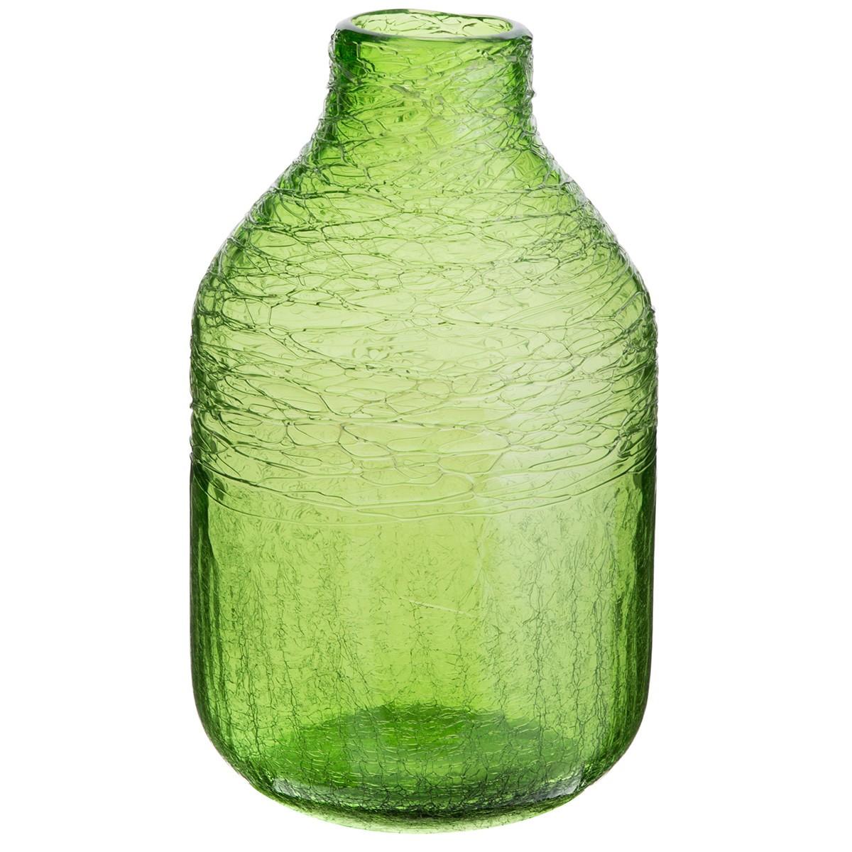 Elemis Glass Bottle Vase, Large, Green