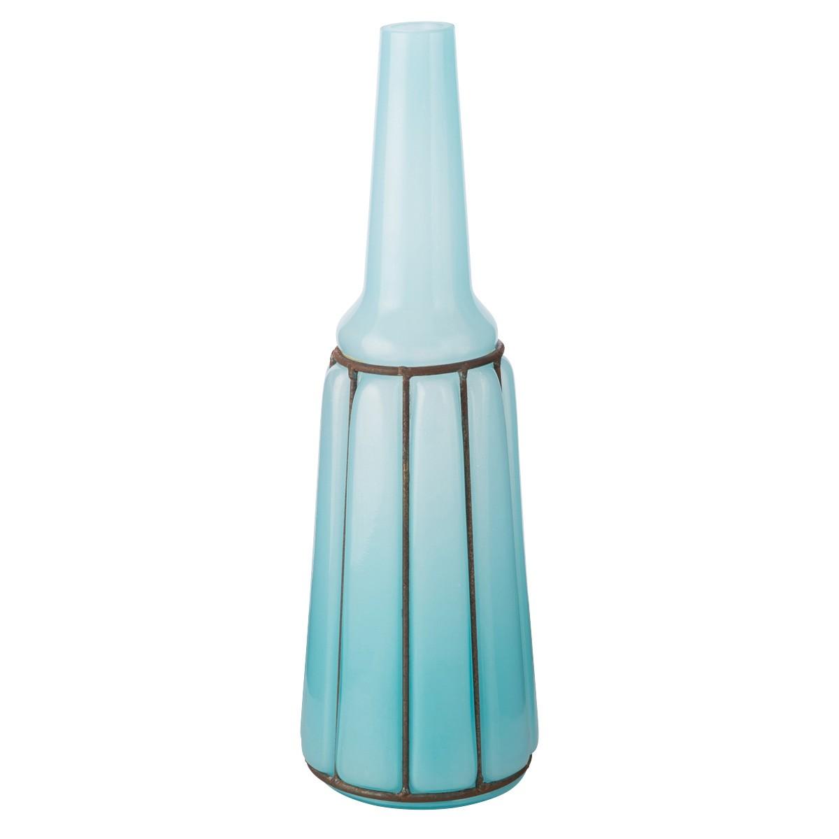 Billington Opaque Glass Long Neck Vase, Medium, Aqua