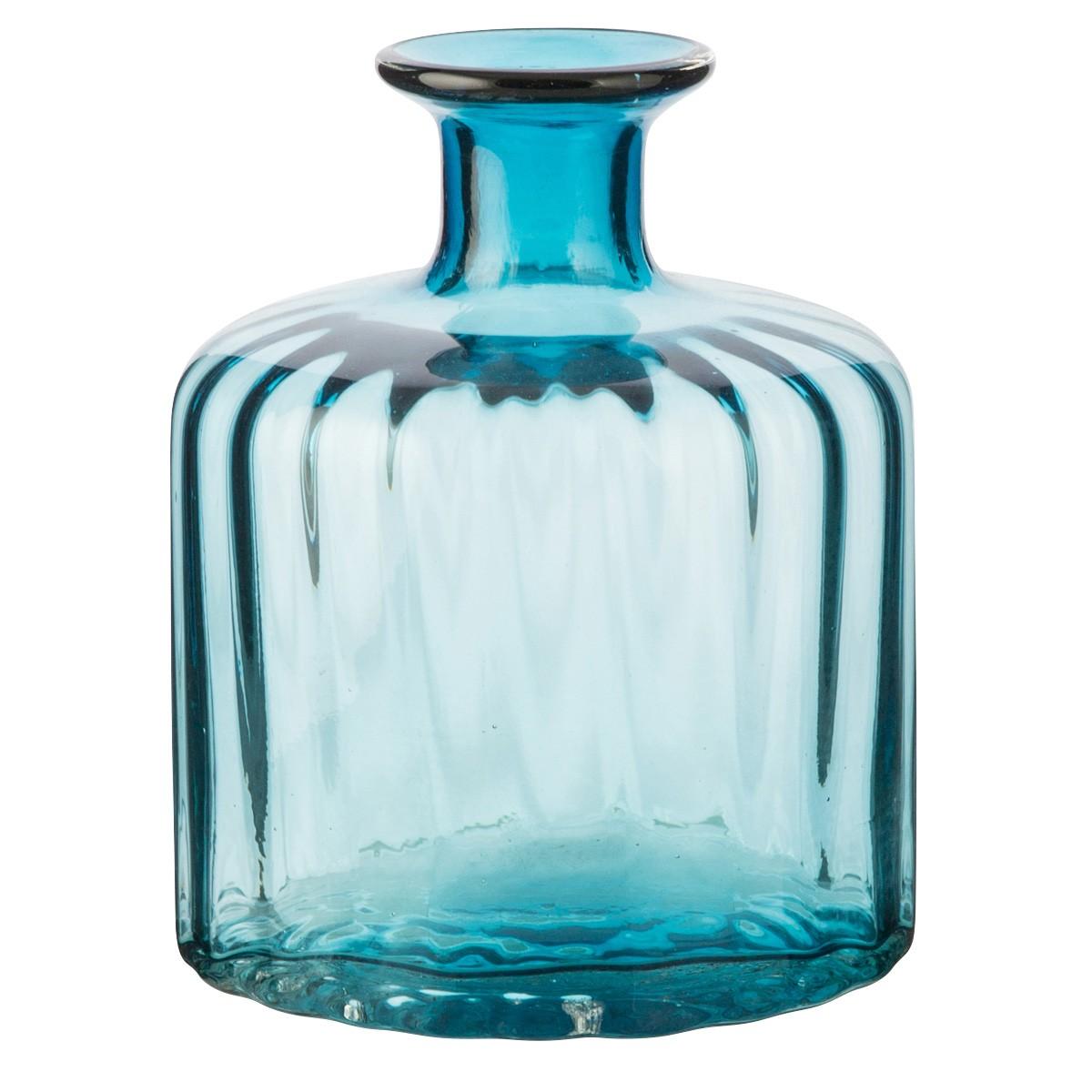 Abson Glass Squat Vase, Medium, Aqua