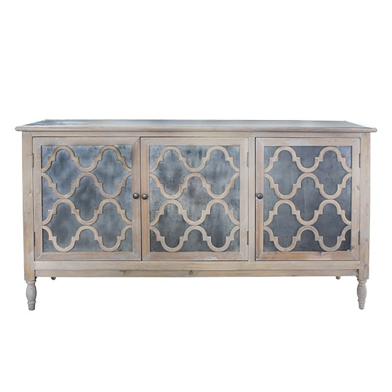 Trellis Wood & Zinc 3 Door Sideboard, 173cm, Weathered Natural
