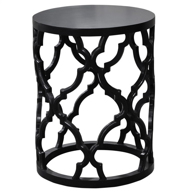 Mustique Alder Timber Round Side Table - Black