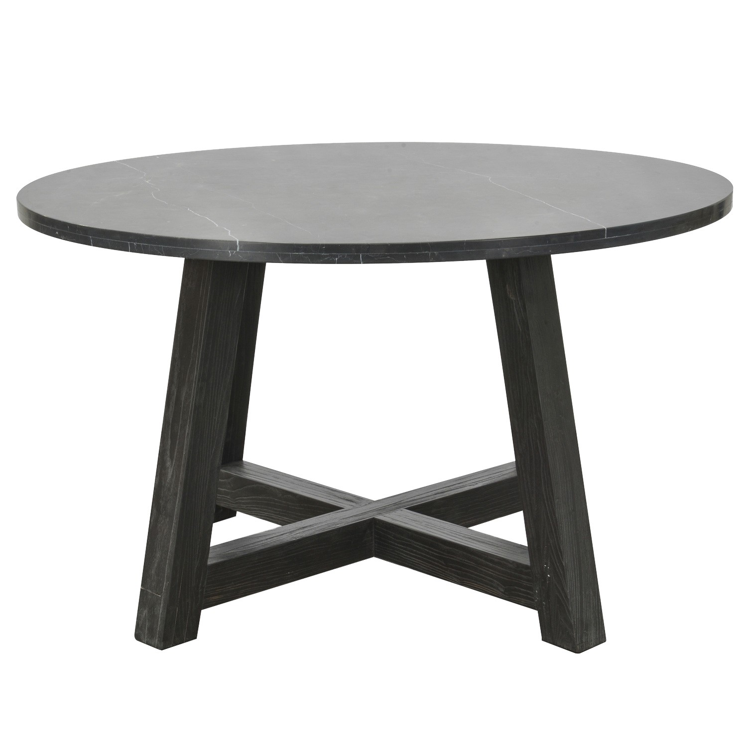 Arlanda Marble Top Round Ding Table, 130cm, Black