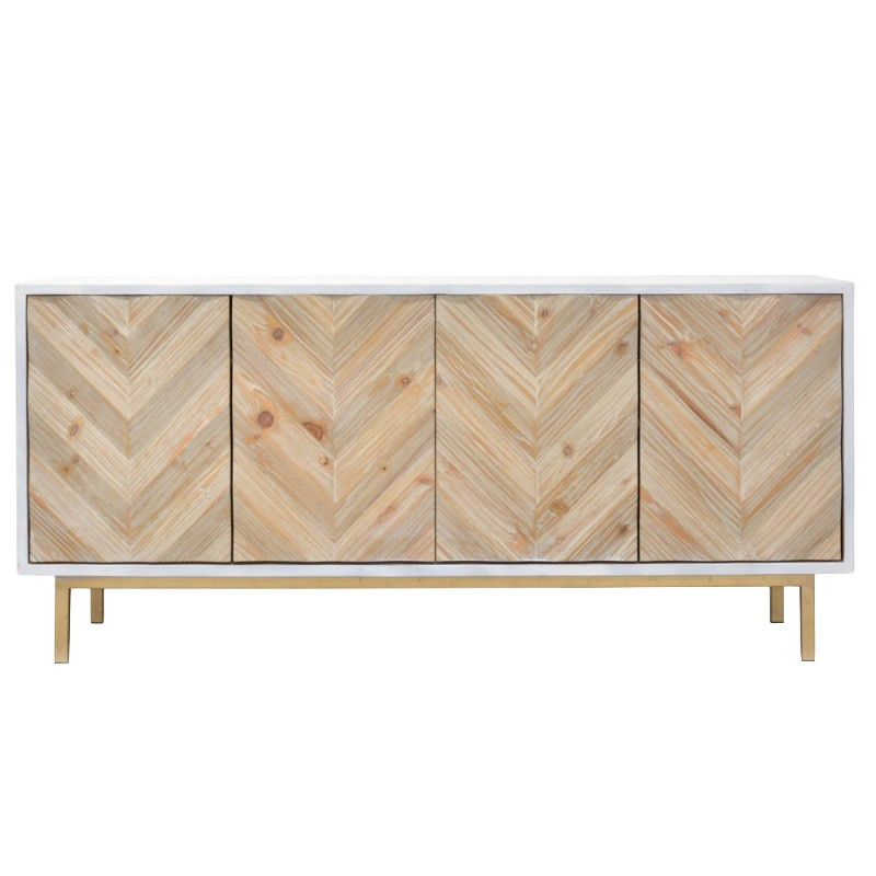 Mardelle Reclaimed Fir Timber 4 Door Sideboard, 180cm