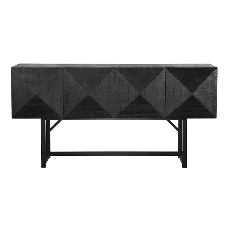 Berrigan Reclaimed Timber & Iron 4 Door Accent Console Table, 180cm, Black